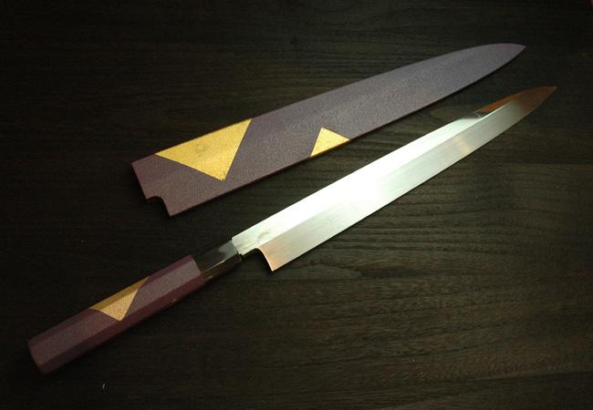 本焼 柳刃 尺1 紫漆鞘・柄