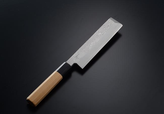 薄刃包丁 銀三鋼 5寸 墨流し 鞘無し